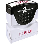 Accu-Stamp2® One-Color Pre-Inked Shutter Message Stamp, FILE, 1/2 x 1-5/8 Impression, Red Ink (035