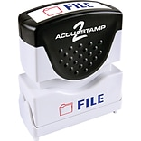 Accu-Stamp2® Two-Color Pre-Inked Shutter Message Stamp, FILE, 1/2 x 1-5/8 Impression, Red/Blue Ink