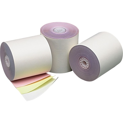 Three-Ply Cash Register/POS Rolls, 3 x 70 ft., White/Canary/Pink, 50/Carton