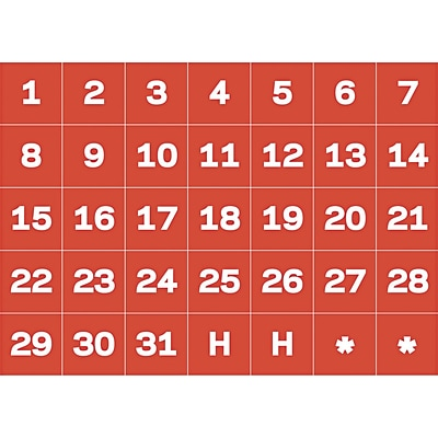 MasterVision® Calendar Magnetic Tape, Red/White, Calendar Dates, Each