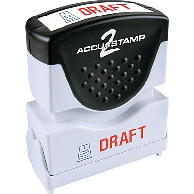 Accu-Stamp2® Two-Color Pre-Inked Shutter Message Stamp, DRAFT, 1/2 x 1-5/8 Impression, Red/Blue Ink (035542)
