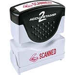 Accu-Stamp2® One-Color Pre-Inked Shutter Message Stamp, SCANNED, 1/2 x 1-5/8 Impression, Red Ink (