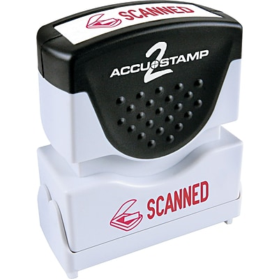 Accu-Stamp2® One-Color Pre-Inked Shutter Message Stamp, SCANNED, 1/2 x 1-5/8 Impression, Red Ink (035605)