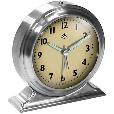 Infinity Instruments Alarm Clock, Silver Metal Boutique,5.5H x 5.5W x 2D