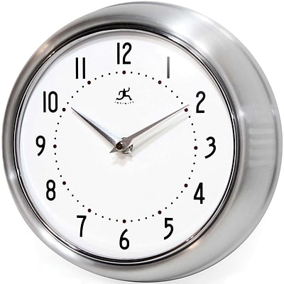 Infinity Instruments Home Essential Retro Iron Wall Clock, Silver Glass Finish, 9.5 Diameter