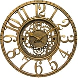 Infinity Instruments Gear Traditional Wall Clock,Antique Gold Resin Case, Round, 15.5 Diameter