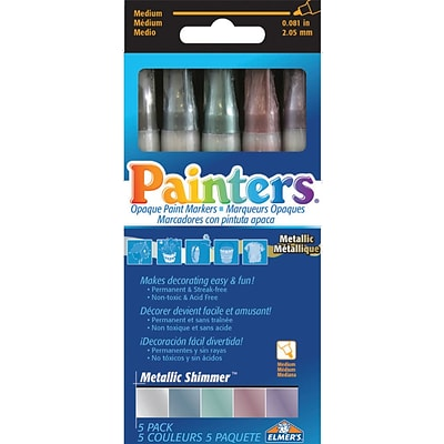 Elmers/X-Acto Metallic Shimmer Markers, Assorted, 5/Pack