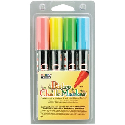 Uchida® Bistro Chalk Marker Set, Fluorescent Blue/Red/Green/Yellow, 4/Pk