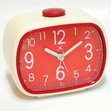 Infinity Instruments 70s Retro Alarm Clock, Cream and Red Plastic, 3.5L x 4.5W x 2D