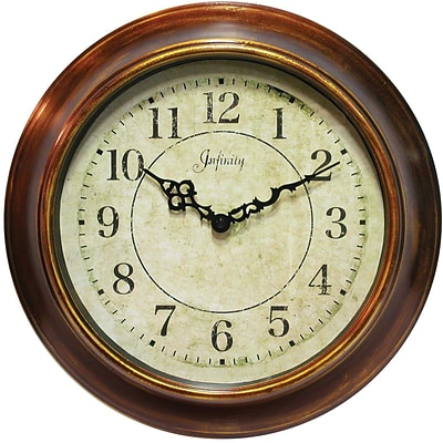 Infinity Instruments Keller Traditional Wall Clock, Metal Multi-Color Brown Case, Round, 14.13