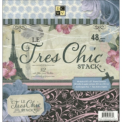 Diecuts With A View Le Tres Chic Paper Stack 12X12-48 Sheets