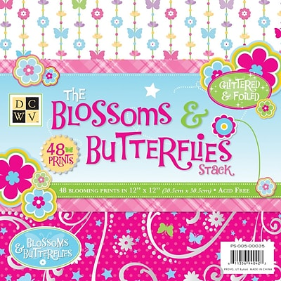 Diecuts With A View Blossoms & Butterflies Paper Stack 12 x 12-48 Sheets