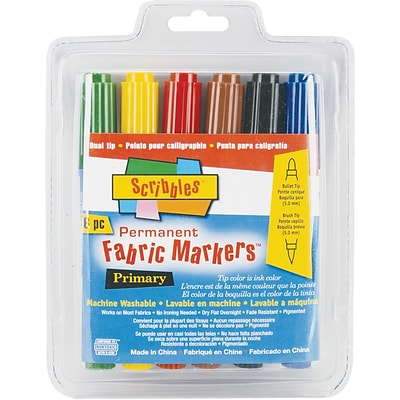 Duncan Scribbles Dual-Tip Permanent Fabric Markers, 6/Pkg, Primary