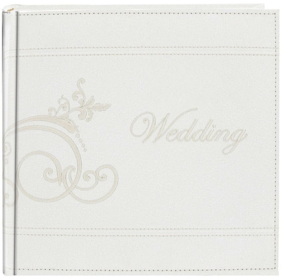Pioneer Embroidered Scroll Leatherette White Photo Album-Holds