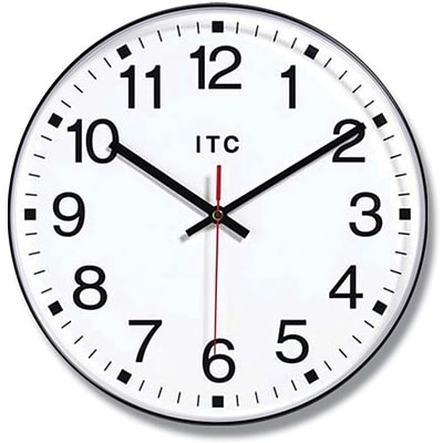 Infinity Instruments Prosaic Office Wall Clock, Black Resin Case, 12  Diameter