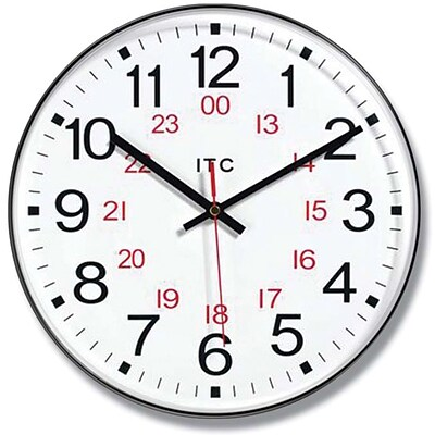 Infinity Instruments Business Prosaic 24 Wall Clock, Round, 12 Diameter