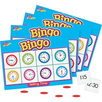 Trend Enterprises Bingo Telling Time Game, 3-36 Players, 36 Cards/Mats