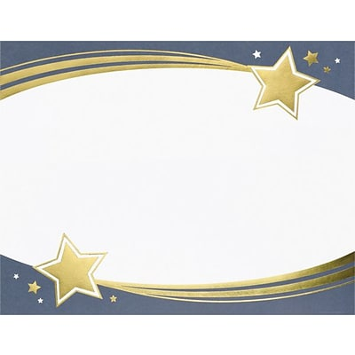 Masterpiece Great Papers! Shooting Stars Foil Certificates, White with Border, 15/Pk