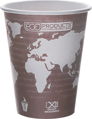 Eco Products World Art Renewable and Compostable PLA Plastic Hot Cup, 8 oz., Plum, 1000/Carton