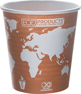 Eco-Products® World Art™ Renewable and Compostable PLA Hot Drink Cup, 10 oz., Rust, 1000/Ct