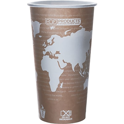Eco-Products® World Art™ Renewable and Compostable PLA Hot Drink Cup, 20 oz., Tan, 1000/Ct
