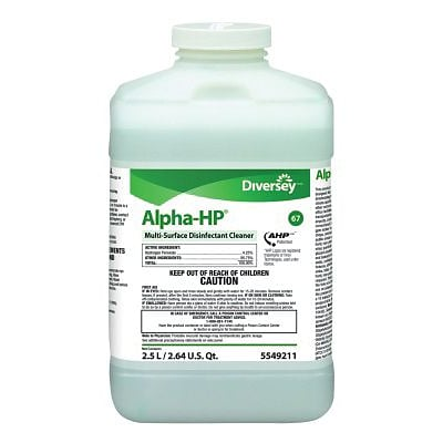 Diversey™ Alpha-HP® Multisurface Disinfectant Cleaner, J-Fill®, Citrus Scent, 2.5 Liters, 2/Ct