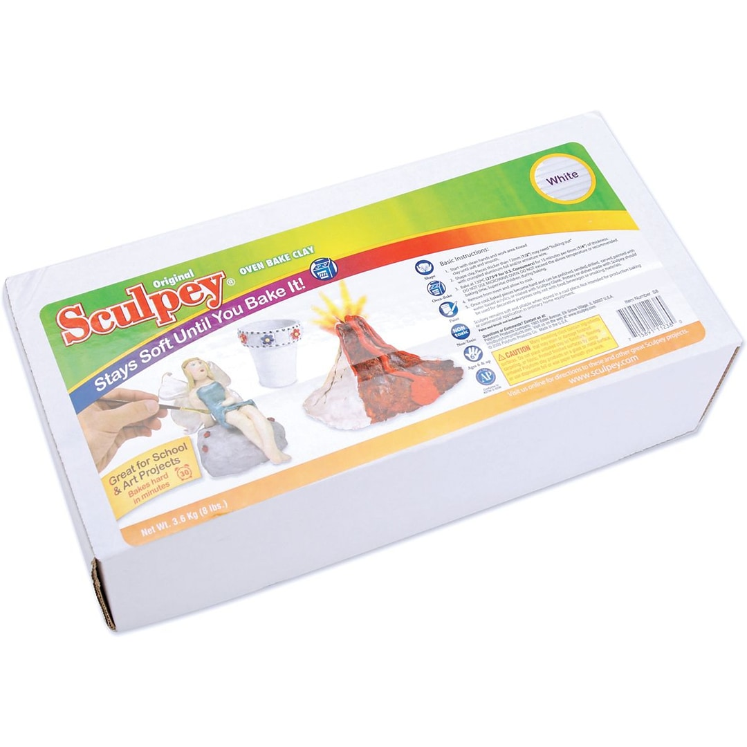Polyform Sculpey Original Polymer Clay 8 Pounds White Quill