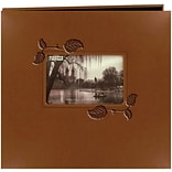 Pioneer Embossed Leatherette Postbound Album With Window, 12 x 12, Brown With Ivy