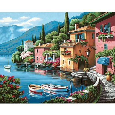 Dimensions Paint By Number Kit, 20 x 16, Lakeside Village
