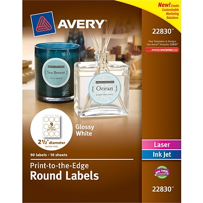 Avery® 22830 Print-to-the-Edge White Round Labels, Glossy, 2-1/2 Diameter, 90/Pack
