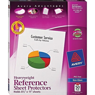 Avery® Sheet Protectors, Heavyweight Polypropylene, 50/Box, Non Glare