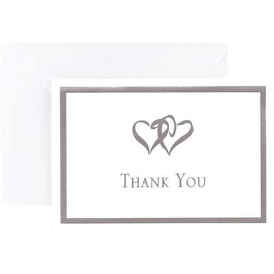 Great Papers® Silver Foil Double Heart Thank You Note Cards and Envelopes