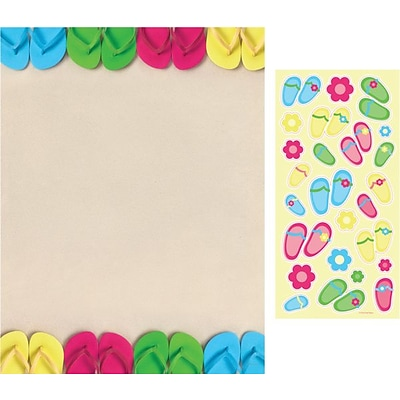 Great Papers® Bright Flip Flops Letterhead with Stickers, 80/Pack