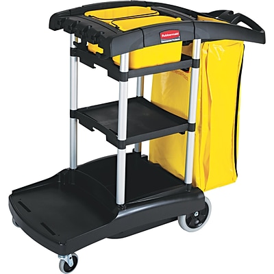 Rubbermaid Commercial High Capacity Cleaning Cart, Black, 38 3/8(H) x 21 3/4(W) x 49 3/4(D)