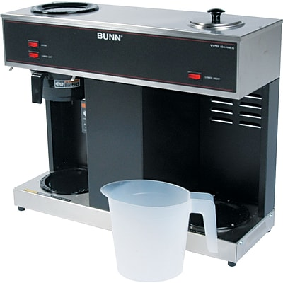 Bunn® Pour-O-Matic® 3 Burner 12 Cup Pour-Over Coffee Commercial Brewer, Stainless Steel, Black