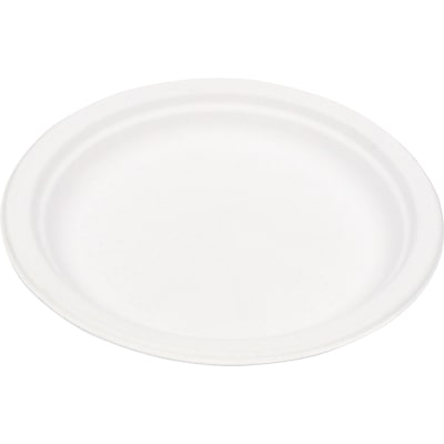Eco Products  Compostable Round Sugarcane Plate, 9(Dia), Natural White, 500/Carton