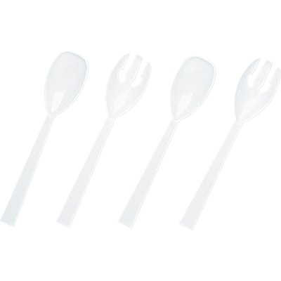 Tablemate ® Plastic Serving Fork and Spoon, White, 9 1/2, 4/Pack, 12 Packs/Box