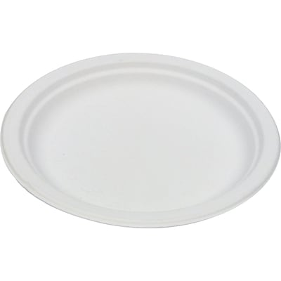 Eco Products  Compostable Round Sugarcane Plate, 6(Dia), Natural White, 1000/Carton