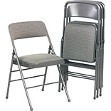 Bridgeport™ Deluxe Fabric Padded Seat And Back Folding Chair, Cavallaro Gray
