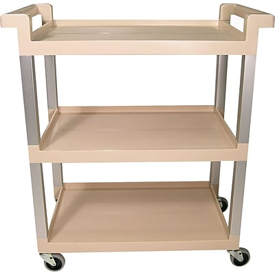 Rubbermaid® 31 1/2 Commercial Three-Shelf Service Cart With Brushed Aluminum Uprights, Beige