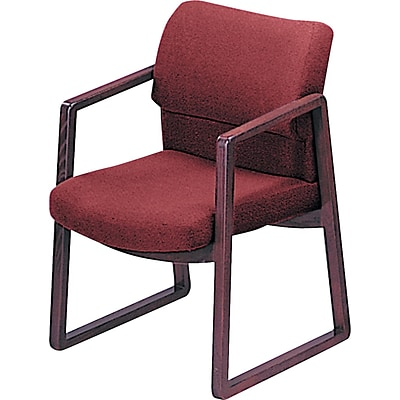 HON® 2400 Series Fabric Sled Base Guest Chair, Burgundy/Mahogany (HON2403NAB62)