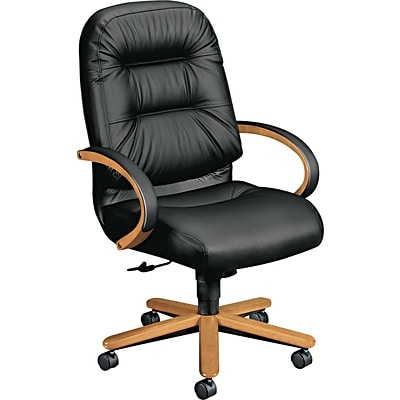 HON® Pillow-Soft® 2190 Series Exec High-Back Chair, Leather, Seat: 22W x 21D, Back: 23-1/2H x 22W, Harvest Oak/Blk