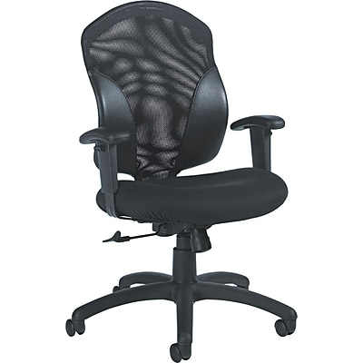 Global Mid-Back Leather Conference Chair, Adjustable Arms, Black
