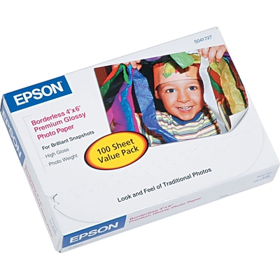 Epson Ink Jet Paper, Premium Glossy, Photo, 68 lbs., 4 x 6, 100 Sheets/Pk