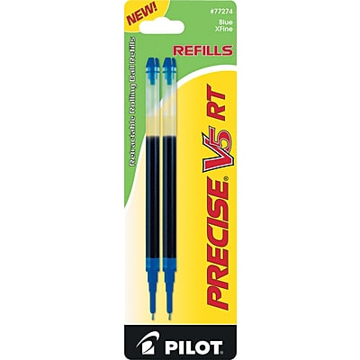 Pilot Precise V5 RT Rolling Ball Pen Refills, Extra Fine Point (0.5mm), Blue, 2/Pk (77274)