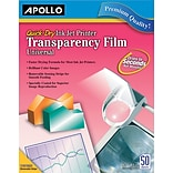 Apollo® Inkjet Printer Transparency Film, Clear, 8 1/2(W) x 11(H), 50/Box