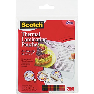 Scotch™ Laminating Pouch, 5 mil, 5 3/8(H) x 3 3/4(W), 20/Pack