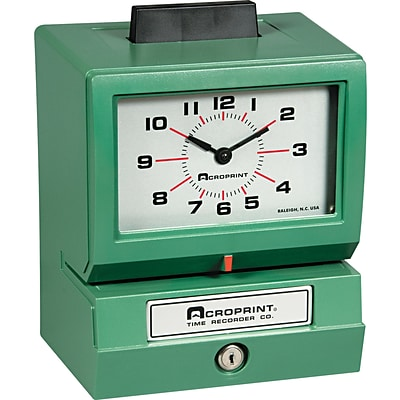Acroprint  Heavy-Duty Analog Manual Print Time Recorder, Month/Date/0-23 Hours/Minutes