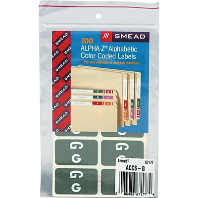 Smead® Alpha-Z Color-Coded Second Letter G Labels, 10 Labels Per Sheet, Gray, 1H x 1 5/8W, 100 Labels/Pk