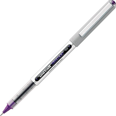 uni-ball Vision Water-Proof Roller Ball Pen, Fine Point, 0.7 mm, Majestic Purple/Gray Barrel